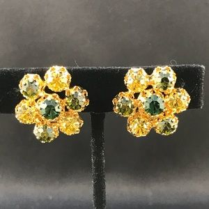 Vintage Austria green and yellow rhinestone clips